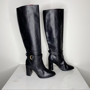 Ted Baker Leather Knee High Buckle Heeled Boots